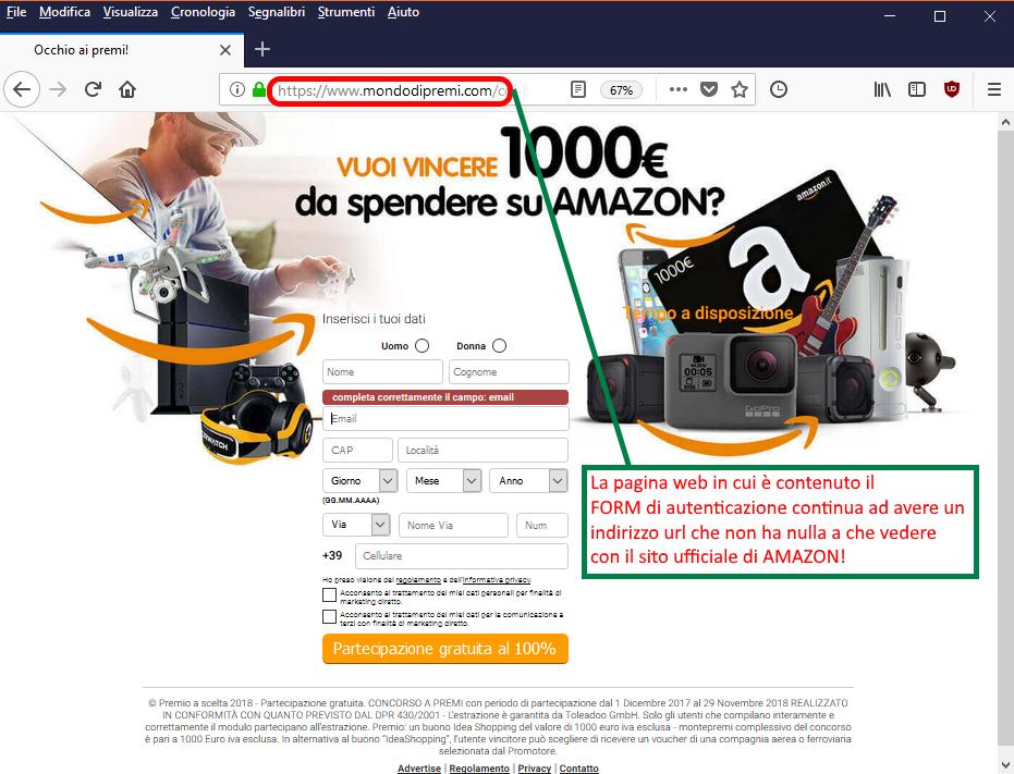 Clicca per ingrandire l'immagine del falso FORM di autenticazione di AMAZON, che invita l'utente ad inserire i suoi dati per poter partecipare all'estrazione del premio/buono di 1000€ ma che in realtà è una TRUFFA!