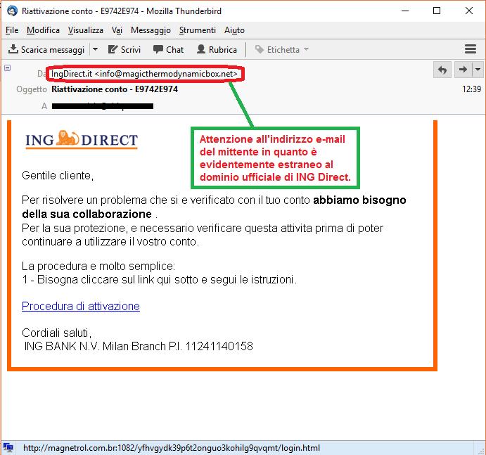 Clicca per ingrandire l'immagine della falsa e-mail di ING Direct, che cerca di indurre il ricevente a cliccare sui link per rubare le credenziali di accesso al conto corrente.