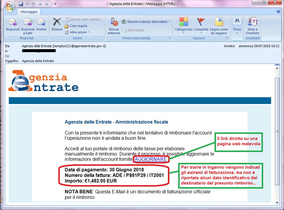 Clicca per ingrandire l'immagine della falsa e-mail della AGENZIA DELLE ENTRATE che informa di un tentativo di rimborso non riuscito, ma che in realtà è una TRUFFA!