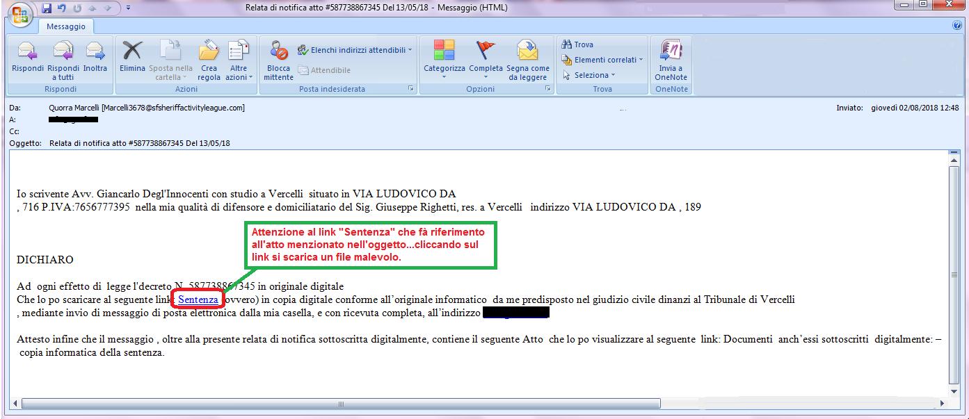 Clicca per ingrandire l'immagine della falsa e-mail di Malspam che diffonde il Trojan GootKit.