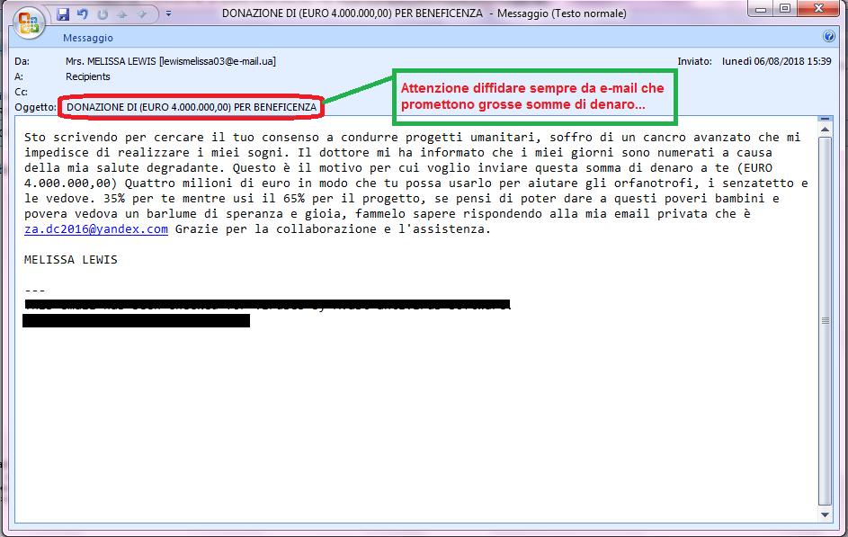 Clicca per ingrandire l'immagine della falsa e-mail di SCAM che cerca di sottrarre somme di denaro.