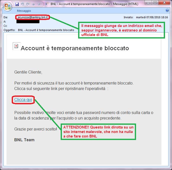 Clicca per ingrandire l'immagine della falsa e-mail di BNL, che cerca di indurre il ricevente a cliccare sui link per rubare le credenziali di accesso al conto corrente.