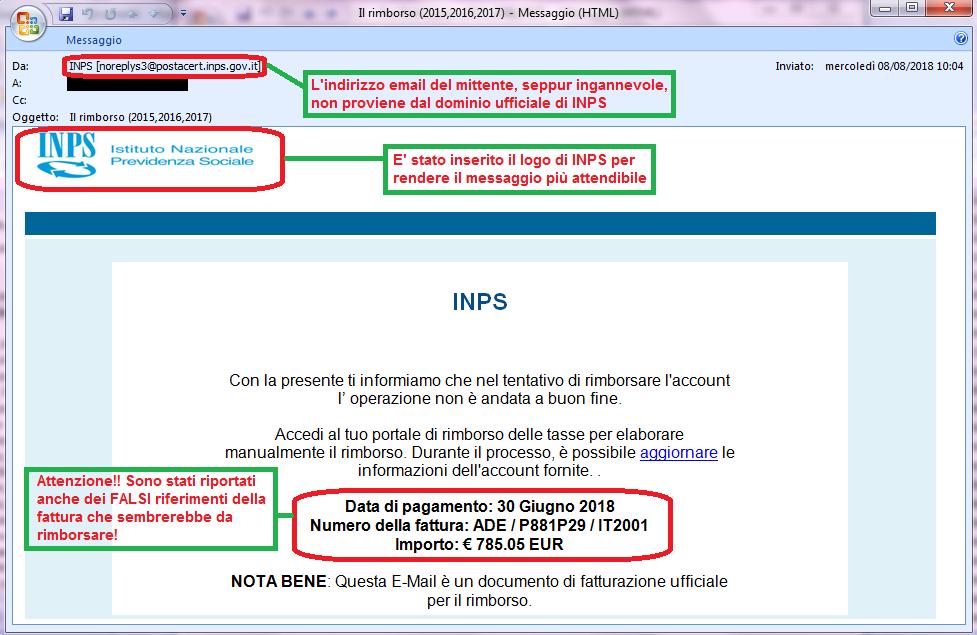 Clicca per ingrandire l'immagine della falsa e-mail di INPS, che cerca di ingannare il ricevente facendogli credere che potrà effettuare manualmente un rimborso di tasse per un importo di ben 785,05 Euro!!
