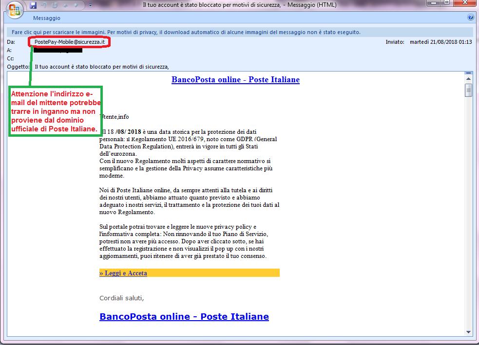 Clicca per ingrandire l'immagine della falsa e-mail di Banco Posta, che cerca di rubare le credenziali di accesso al sito Poste.it
