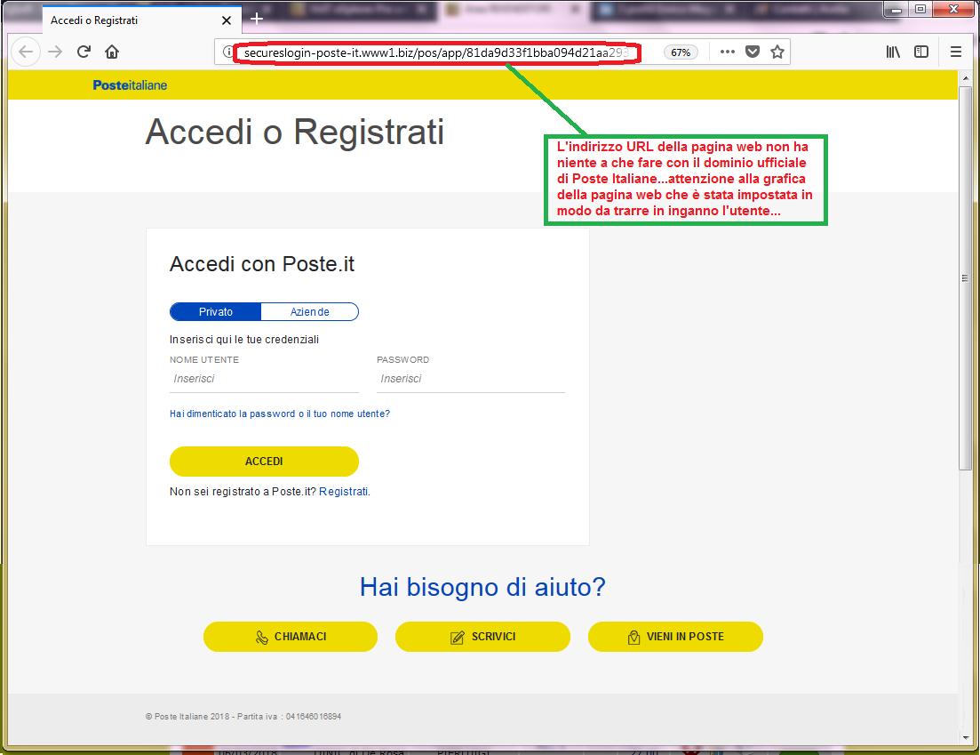Clicca per ingrandire l'immagine della falsa pagina web di Poste Italiane, che cerca di rubare i codici di accesso