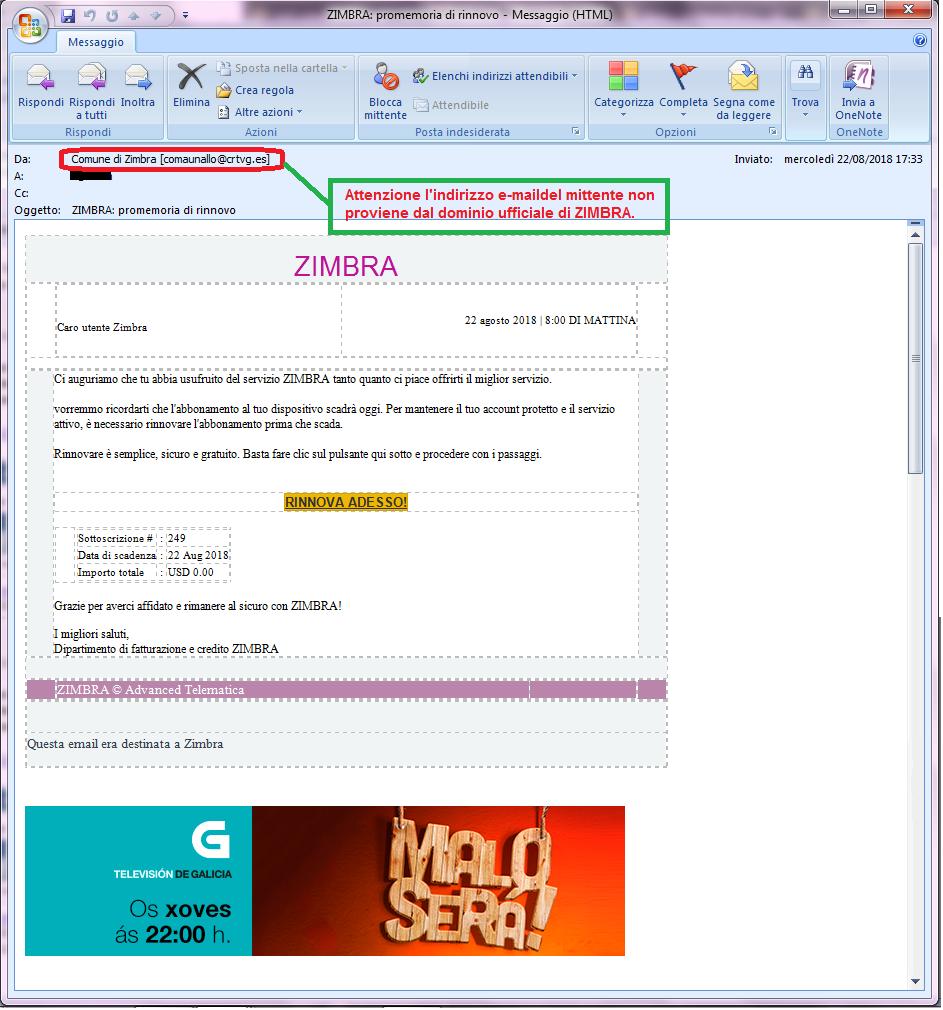 Clicca per ingrandire l'immagine della falsa e-mail di Zimbra, che ha l'obiettivo di rubare le credenziali di accesso all'account di posta elettronica dell'ignaro destinatario
