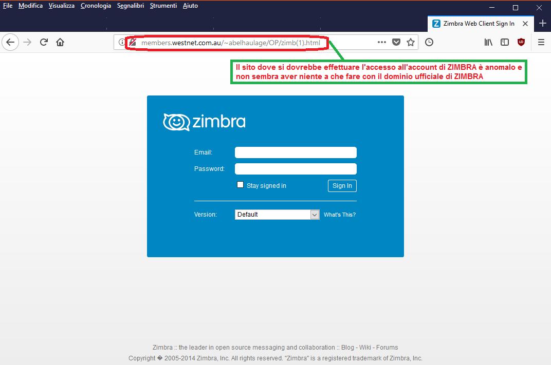 Clicca per ingrandire l'immagine della falsa pagina web di Zimbra, che cerca di rubare le credenziali di accesso all'account di posta elettronica dell'ignaro destinatario
