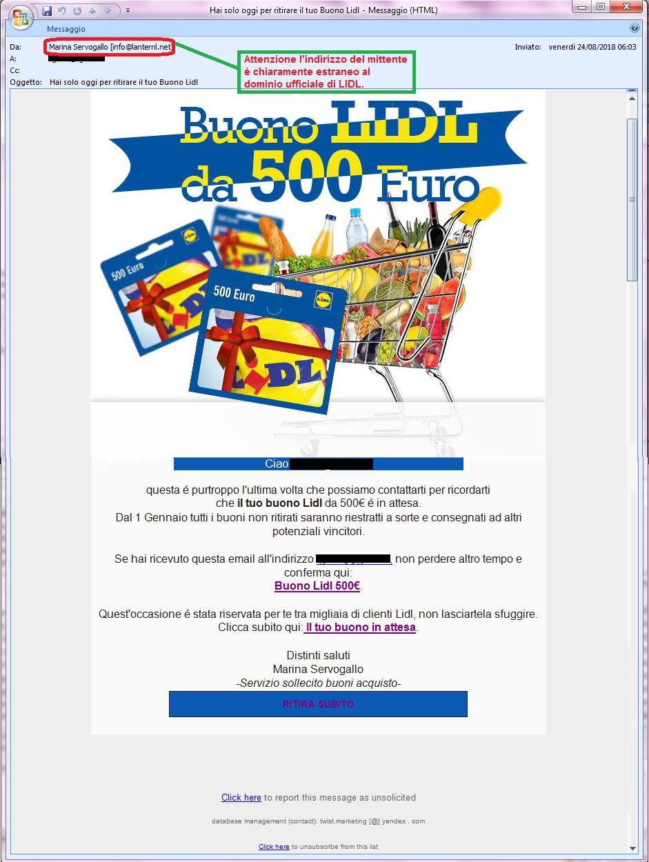 Clicca per ingrandire l'immagine della falsa e-mail di LIDL, che offre la possibilità di vincere un buono sconto del valore di € 500,00, ma che in realtà è una TRUFFA!