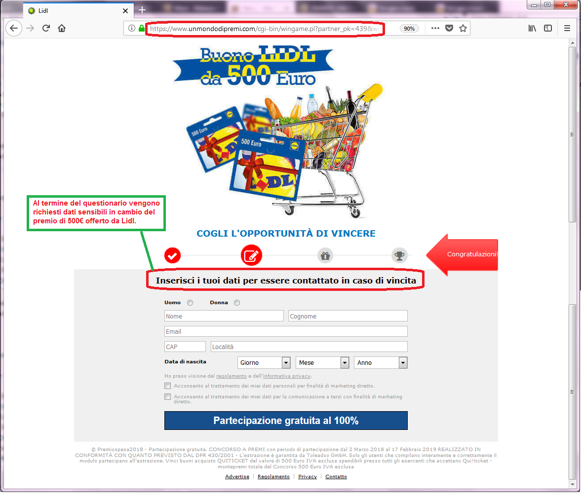 Clicca per ingrandire l'immagine della falsa pagina web di LIDL, che richiede l'inserimento di dati sensibili in cambio un buono spesa di 500€ ma che in realtà è una TRUFFA!