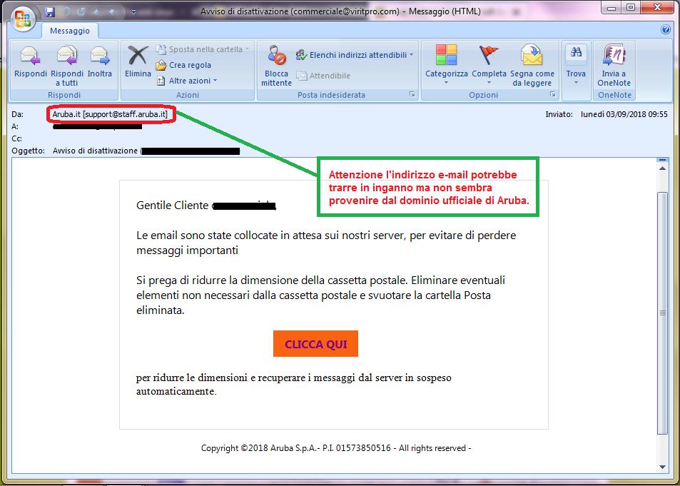 Clicca per ingrandire l'immagine della falsa e-mail di ARUBA, che cerca di rubare i dati della carta di credito dell'ignaro ricevente.