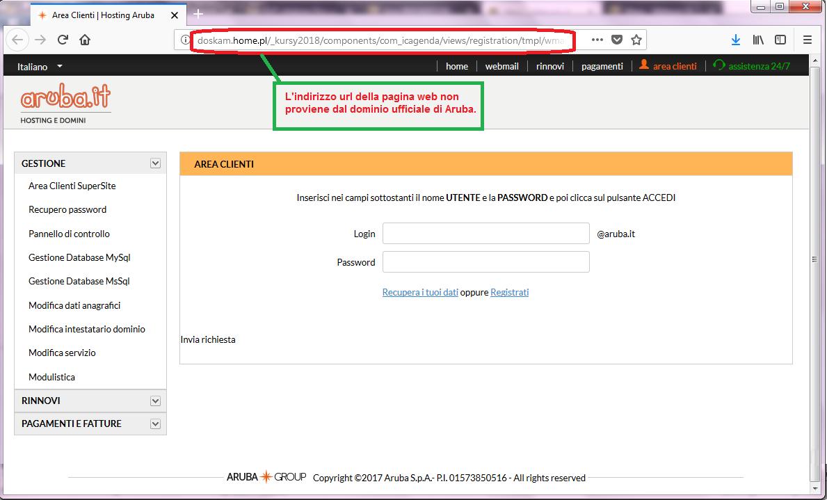 Clicca per ingrandire l'immagine della FALSA  pagina web, non riconducibile ad Aruba.