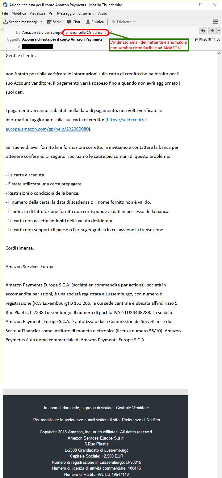 Clicca per ingrandire l'immagine della falsa e-mail di AMAZON che offre la possibilità di vincere un buono di 500€ ma in realtà è una TRUFFA!