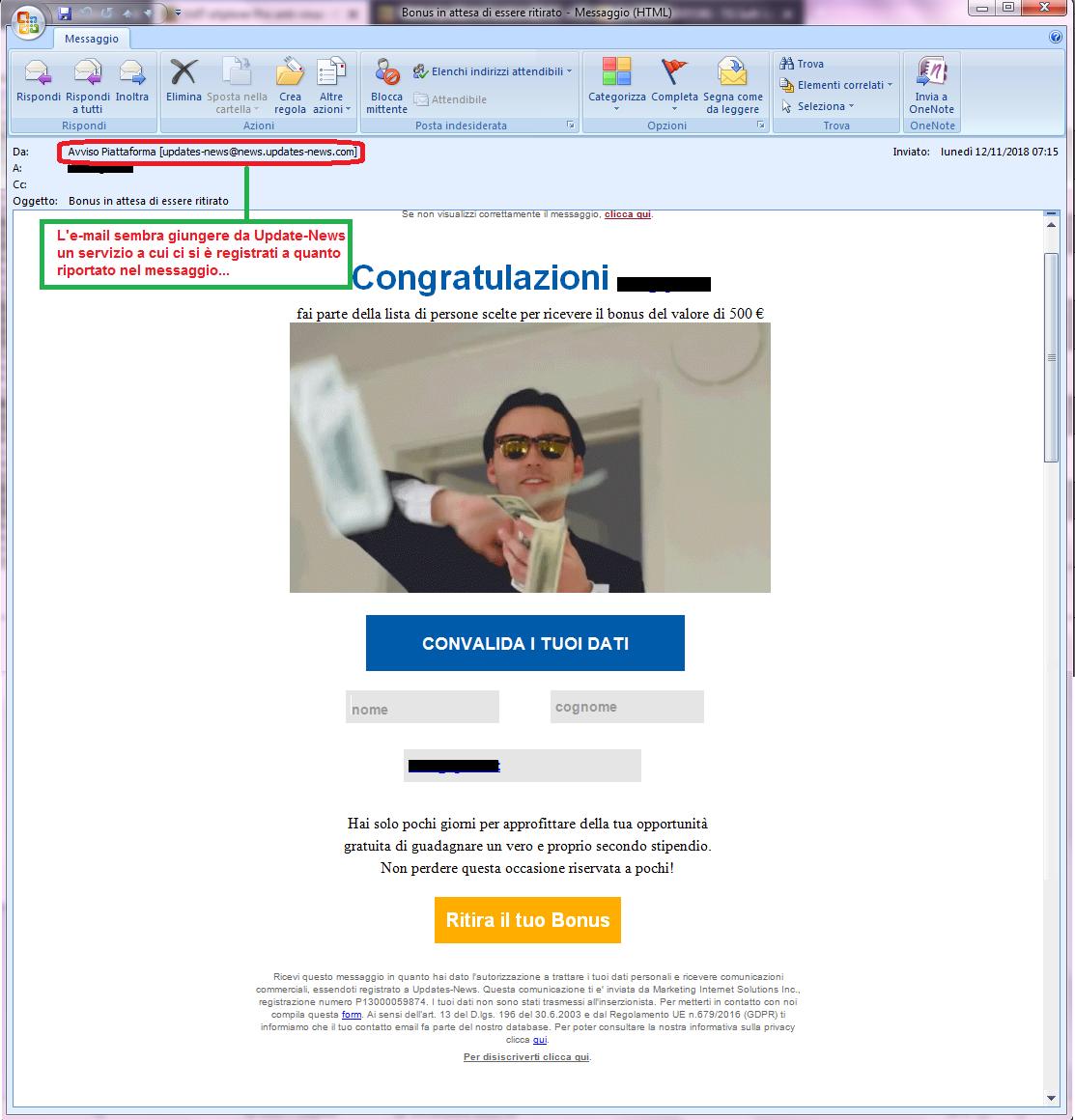 Clicca per ingrandire l'immagine della falsa e-mail di Updates-News che offre la possibilità di vincere un buono di 500€ ma in realtà è una TRUFFA!