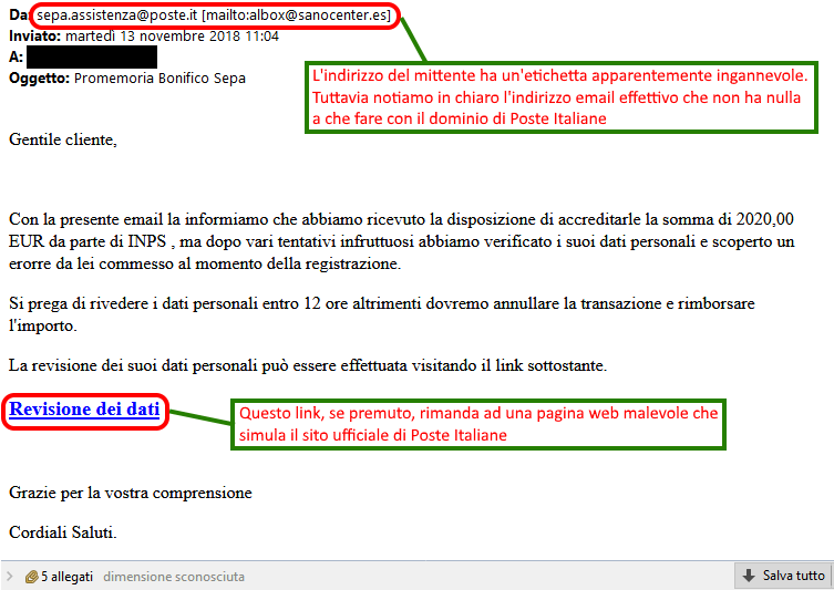 Clicca per ingrandire l'immagine della falsa e-mail di Poste Italiane, che cerca di rubare le credenziali del proprio account.