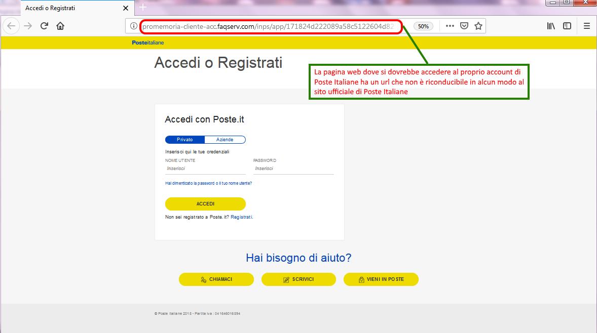Clicca per ingrandire l'immagine del FALSO form di autenticazione di Poste Italiane, che cerca di rubare le credenziali del proprio account.