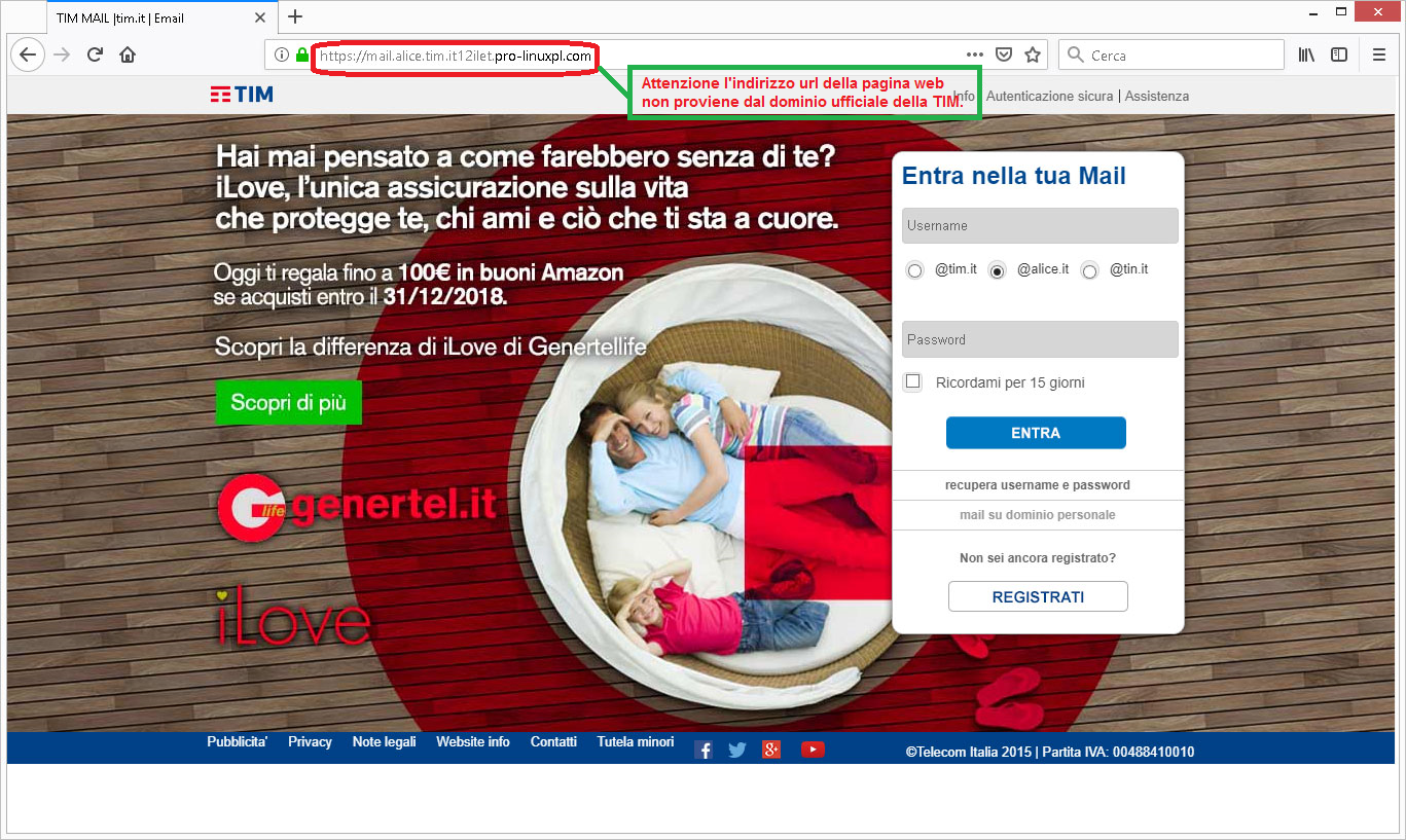Clicca per ingrandire l'immagine della falsa pagina web di TIM, che richiede di inserire i dati del tuo account di posta elettronica, ma che in realtà è una TRUFFA!