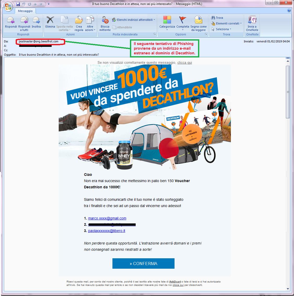 Clicca per ingrandire l'immagine della falsa e-mail di DECATHLON che offre la possibilità di vincere un voucher del valore di 1000 Euro ma che in realtà è una TRUFFA!