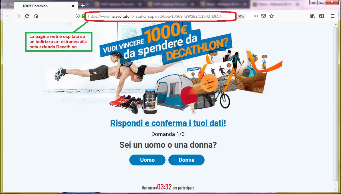 Clicca per ingrandire l'immagine del falso sondaggio di DECATHLON, che offre come premio un voucher da 1000 Euro ma che in realtà è una TRUFFA!