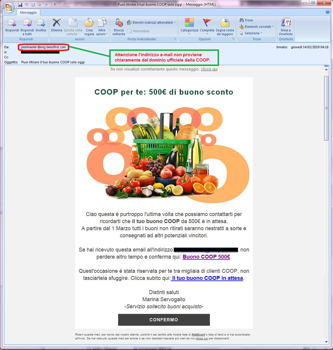 Clicca per ingrandire l'immagine della falsa e-mail della COOP che offre la possibilità di vincere un buono del valore di 500 Euro ma che in realtà è una TRUFFA!