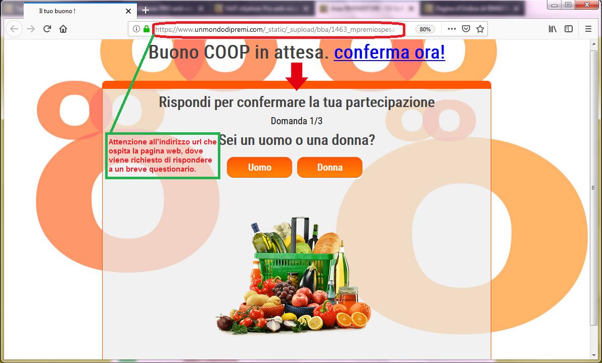 Clicca per ingrandire l'immagine del falso sondaggio della COOP, che offre come premio un buono da 500 Euro ma che in realtà è una TRUFFA!