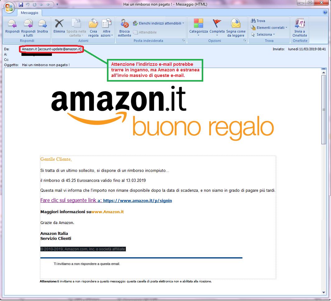 Clicca per ingrandire l'immagine della falsa e-mail di AMAZON che cerca di rubare le credenziali di acesso dell'account.