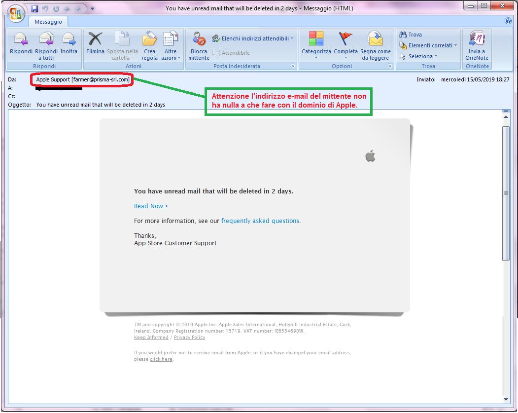 Clicca per ingrandire l'immagine della falsa e-mail di APPLE, che cerca di indurre il ricevente a cliccare sui link per rubare le credenziali di accesso di Apple ID.