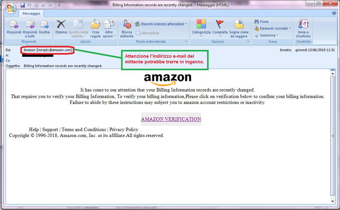 Clicca per ingrandire l'immagine della falsa e-mail di AMAZON che ti avvisa della sospensione del tuo account ma in realtà è una TRUFFA!