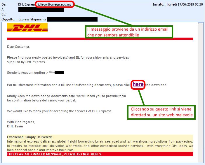 Clicca per ingrandire l'immagine della falsa e-mail di DHL, che cerca di indurre il ricevente a cliccare sui link per rubare la password della sua casella di posta elettronica.