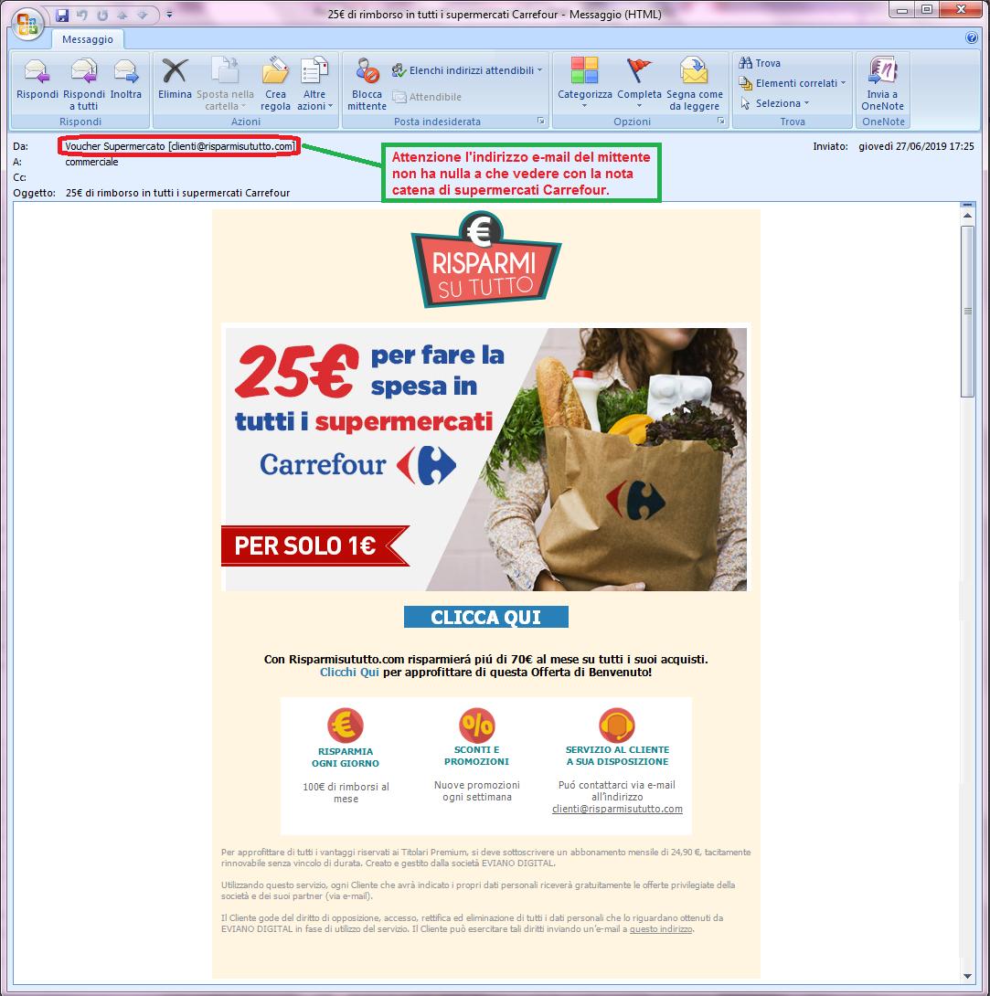 Clicca per ingrandire l'immagine della falsa e-mail di Carrefour che offre la possibilità di ricevere un buono del valore di 25 Euro ma che in realtà è una TRUFFA!