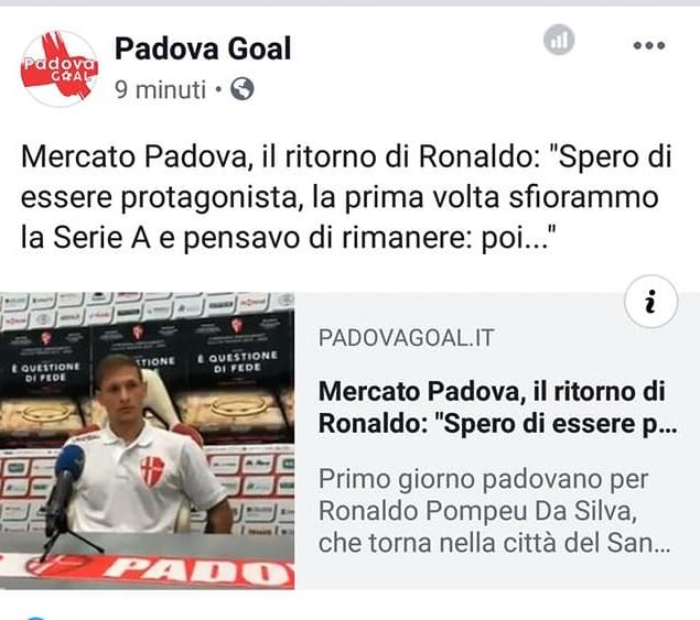 Clicca per ingrandire l'immagine dell'articolo di Padova Goal che rimanda ad una possibile vincita di € 500 Amazon o di un Samsung Galaxy S10...