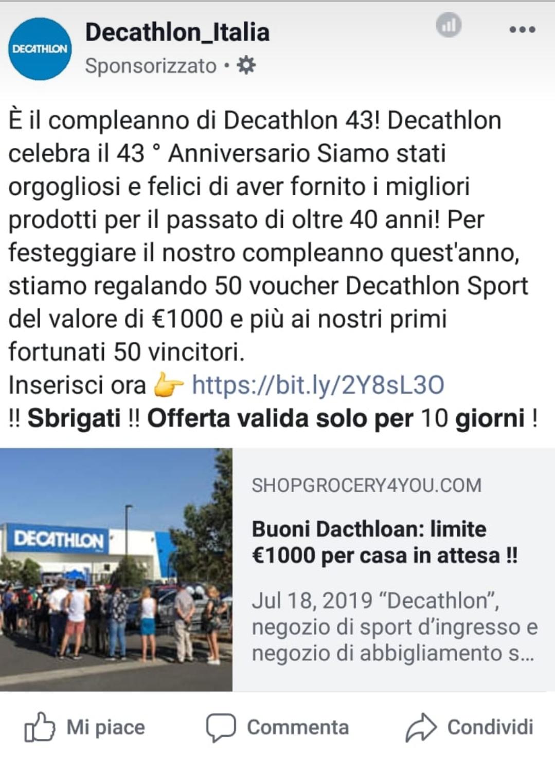 Clicca per ingrandire l'immagine del post sponsorizzato su FB di DECATHLON che offre la possibilità di vincere un voucher del valore di 1000 Euro ma che in realtà è una TRUFFA!
