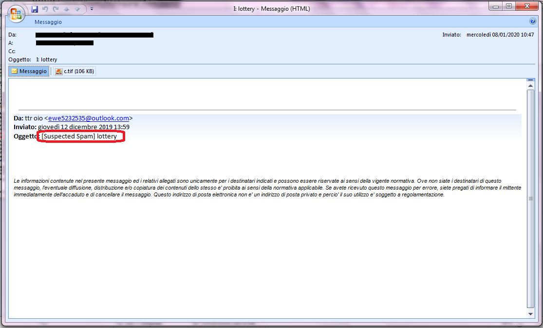 Clicca per ingrandire l'immagine della falsa e-mail della Lotteria Canadese, che contiene un messaggio allegato..