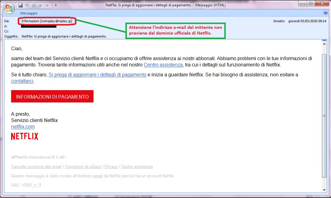 Clicca per ingrandire l'immagine della falsa e-mail di Netflix, che cerca di rubare i dati della carta di credito dell'ignaro ricevente