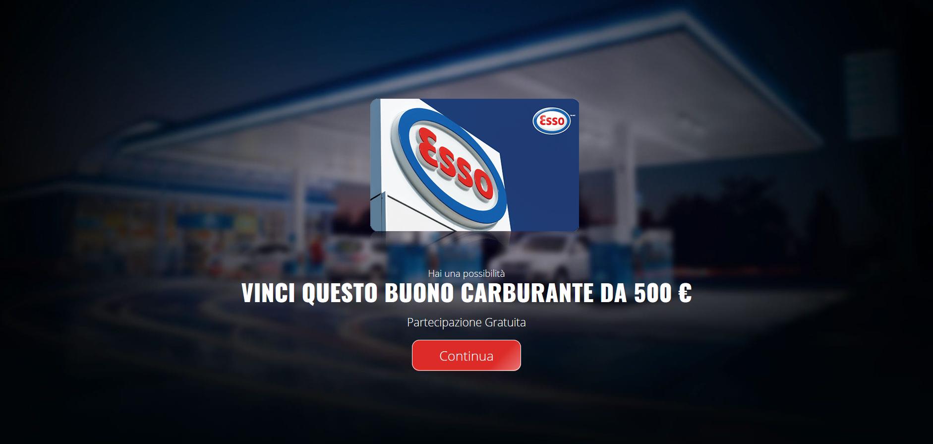 Clicca per ingrandire l'immagine della pagina web che compare che indirizza l'utente a provare a partecipare per vincere un buono carburante ESSO del valore di 500 Euro ma che in realtà è una TRUFFA!
