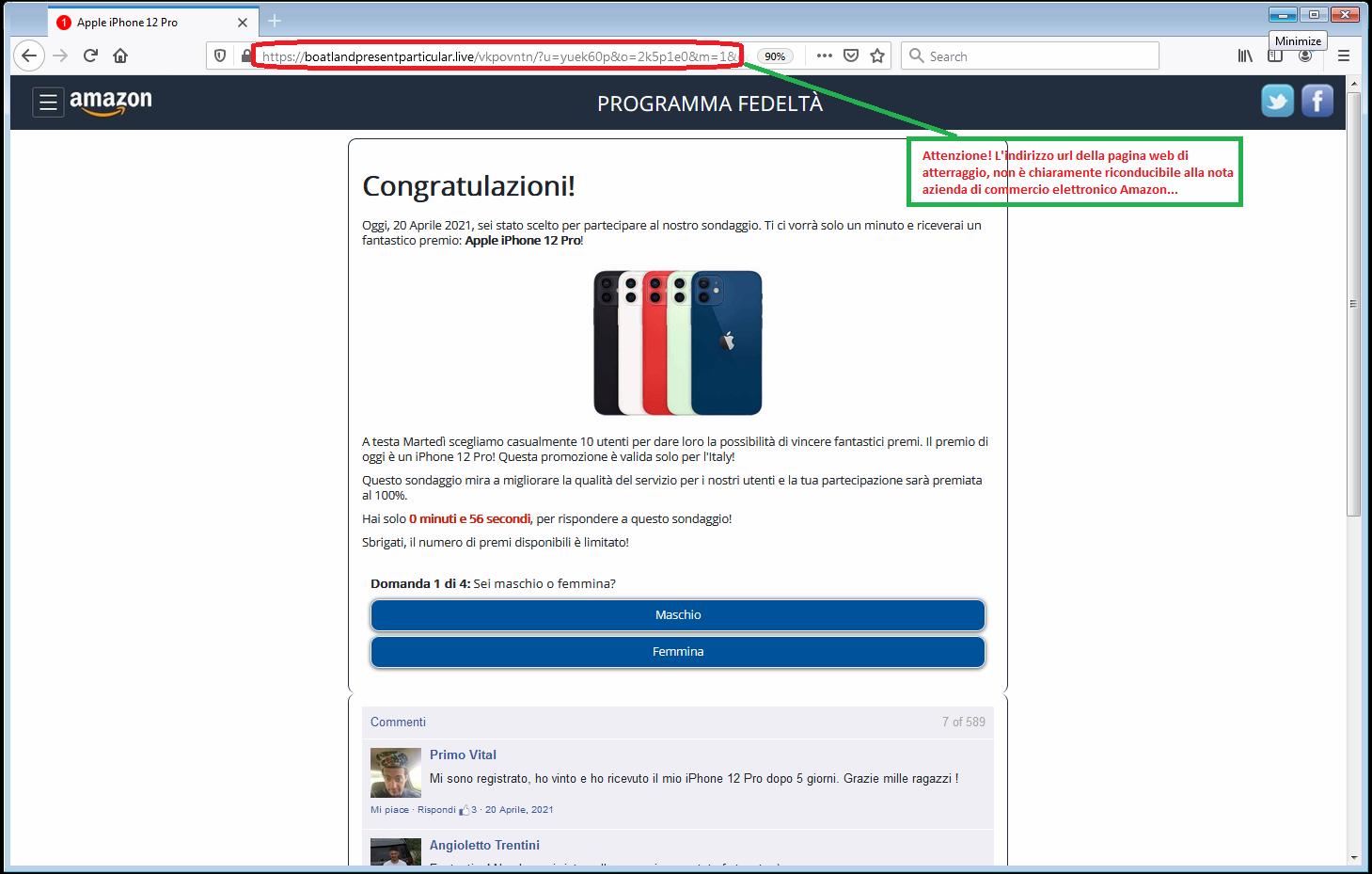 Clicca per ingrandire l'immagine della falsa pagina web di Amazon, che offre la possibilità di vincere un fantastico premio l'iPhone 12 Pro solo per 1o fortunati utenti...