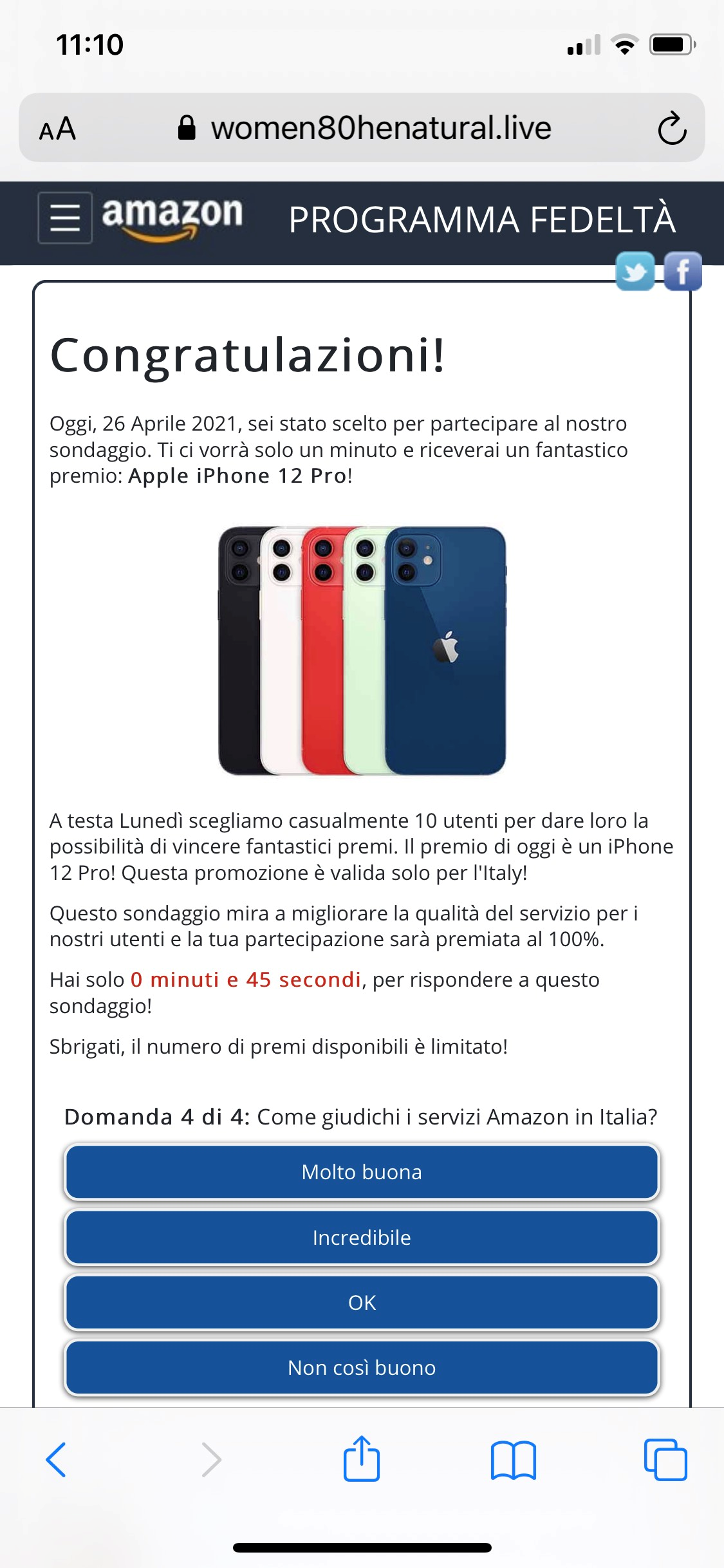 Clicca per ingrandire l'immagine della falsa pagina web di Amazon, che offre la possibilità di vincere un fantastico premio l'iPhone 12 Pro solo per 10 fortunati utenti...