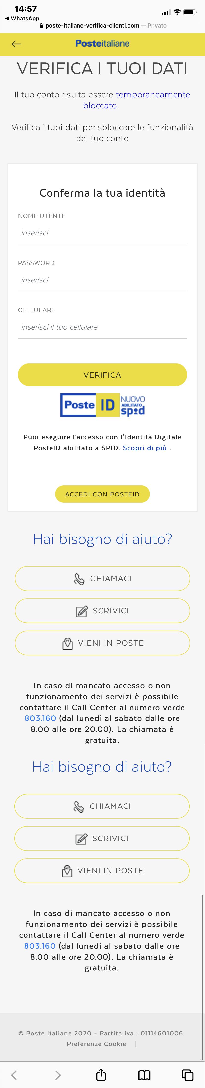 Clicca per ingrandire l'immagine del falso sito di Poste Italiane che simula l'originale per indurre il malcapitato ad inserire le credenziali del suo account ma in realtà si tratta di una TRUFFA!